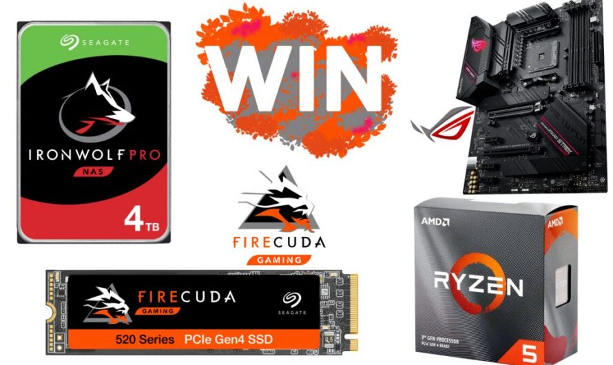 Win a Seagate PCIe Gen4 SSD, B550 motherboard, Ryzen 5 3600 and a 4TB HDD!