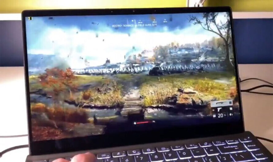 Laptop with Intel Tiger Lake Gen12 Xe iGPU Shown Playing BFV By Itself